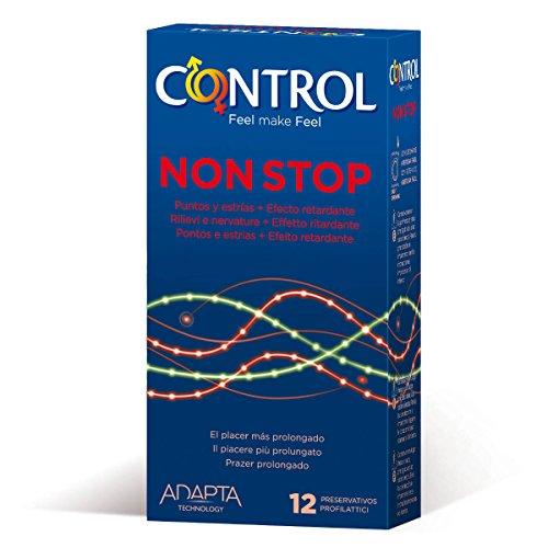 Control Non-Stop - 12 gerippt/genoppte Kondome für längere Liebe