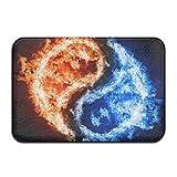 Ncutakuzvmru Fire Ice Yin Yang Doormats Anti-Slip House Garden Gate Carpet Door Mat Floor Pads
