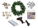 Heitmann Deco 30625 - Bastelset Weihnachtskranz mit LED und Deko, inklusive Heißklebepistole, 27 teilig