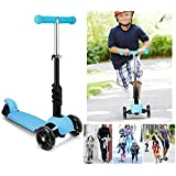 Creine Kids 3-in-1 3-Wheel Mini Kick Scooter With LED Flashing Wheels, Adjustable Handlebar And Removable Seat, 3-8 Years (Blue, 1)
