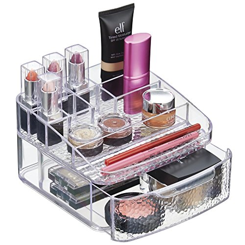 mDesign Cosmetic Organizer for Vanity Cabinet to Hold Makeup, Beauty Products - 1 Drawer, Clear