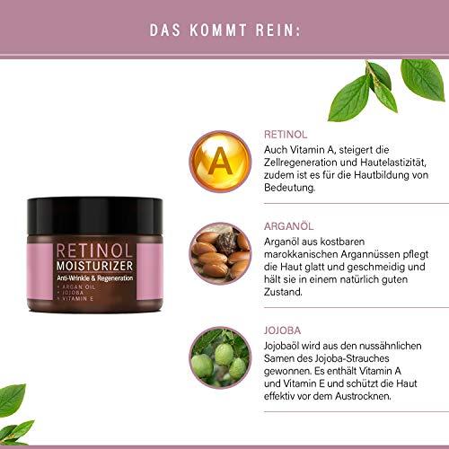 Retinol Crème – Mother Nature® | Anti-Aging | Feuchtigkeitsspender Gegen Trockene Haut & Altersanzeichen | Hautstraffung & Hautregeneration Für Pralle, Jugendliche Haut | Inklusive Hyaluronsäure - 4