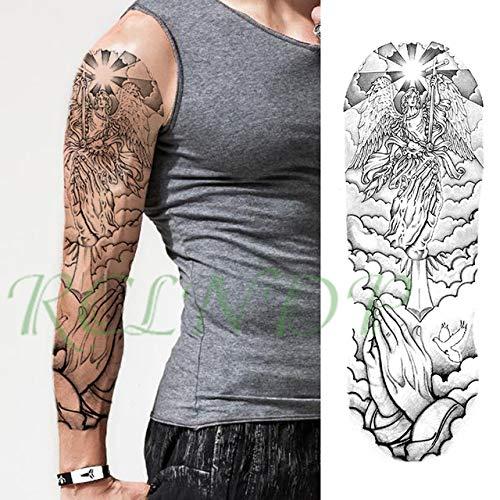 ljmljm 3 stücke wasserdichte Tattoo Aufkleber Adler Taschenuhr Engelsflügel Hand Voller Arm Große Tatto Tatoo Für Männer WomenG Rot 48x17 cm