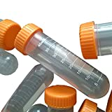BIPEE 50ml fondo redondo centrigue Tubo Tapón de rosca de plástico Graduado Laboratorio Tubo, Paquete de 10piezas