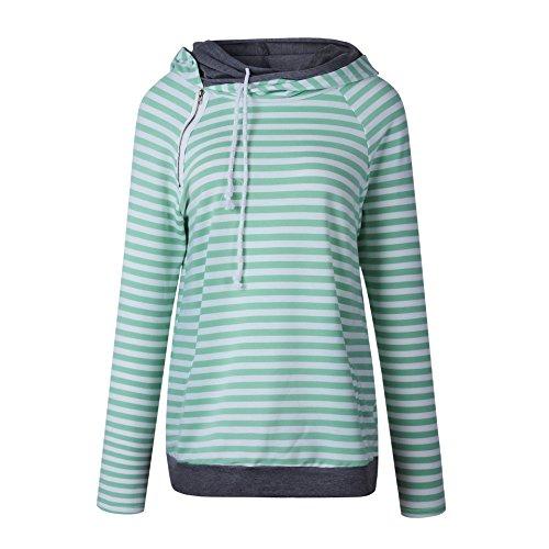 ASSKDAN Damen Gestreift Pulli Sweatshirts Hoodie Sport Langarm Reißverschluss Pullover Outerwear (EU 38/M, Grün) - 3