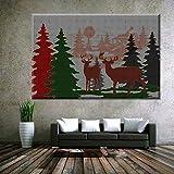 XIANRENGE Nordic Print Poster Malerei Tier Elch Baum Landschaft Moderne Abstrakte Leinwand Kunst Bilder Für Wohnzimmer Wohnkultur 70×100Cm