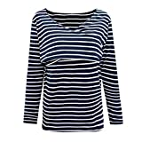 Maternity Clothing for Women,Zerototens Women Mom Pregnant Asymmetrical Hem Nursing T-Shirt Long Sleeve Striped Tunic Tops Breastfeeding Sweatshirt\n