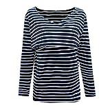 Maternity Clothing for Women,Zerototens Women Mom Pregnant Asymmetrical Hem Nursing T-Shirt Long Sleeve Striped Tunic Tops Breastfeeding Sweatshirt\n