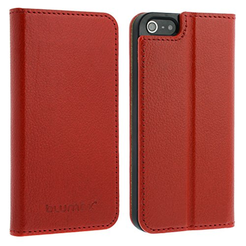 Blumax Thin Sacs en cuir Étui de protection Coque de protection pour Apple iPhone 5/5S Case pliable en étui de protection en cuir véritable BRAUN Wallet