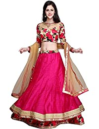 OWEE Women's Net Semi-stitched Lehenga Choli (Gulabo, Red, Free Size)