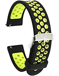 Elespoto 18mm de Pulsera de Reloj Silicona Liberación Reemplazo Correa para Huawei Watch Classic W1 / Huawei Fit / Withings Activite and All 18 MM Watch Band Strap (Black Yellow)