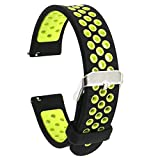 Elespoto 18mm Bracelets de Montres Band Strap de Remplacement Watchband Rechange Bande pour Huawei Watch / Nokia Health Watch/Huawei Fit / Withings Activite and 18 MM Watch (Black Yellow)