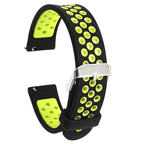 Elespoto 18mm de Pulsera de Reloj Silicona Liberación Reemplazo Correa para Huawei Watch Classic / Huawei Fit / Nokia Health Watch/Withings Activité and All 18MM Watch (Black Yellow)