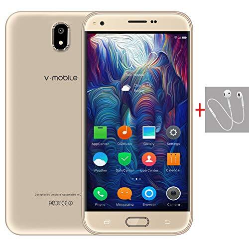 Telefonos 4g Baratos,9Pcs 5.5 Pulgadas 8GB ROM Doble Sim 5MP Cámara 2800mAh Batería Android 7,0 Smartphone Telefono Movil Libres Baratos 1.3GHz Quad CoreWIFI GPS Bluetooth V Mobile J5(1 Oro)