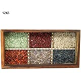 Florishkart Hand Crafted & Art Work Handmade Antique & Vintage Sheesham Wood Multi-Colour Gem Stone Wood Work Tea & Coffee Serving Tray For Home & Kitchen Décor Tableware