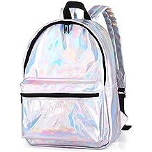 Mochilas mujer ninas Bolsas escolares Mochilas plateadas holografica l¡§¡éser piel Mochila impermeable - Horsky