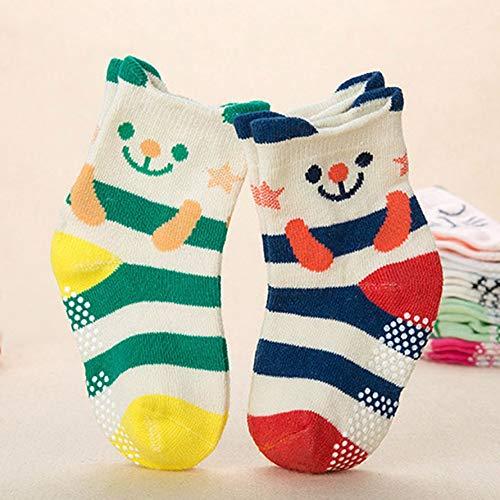 aby Socken 8 36 Monate Kleinkind Mädchen Jungen Söckchen Baumwolle Warme Rutschfeste Cartoon Crew Socken ()