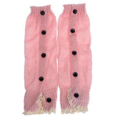 Socken Longra Baby Kinder Mädchen Crochet Lace Boot Manschetten Topper Beinwärmer gestrickt Socken (Pink) (Kids Lace Boot Socken)