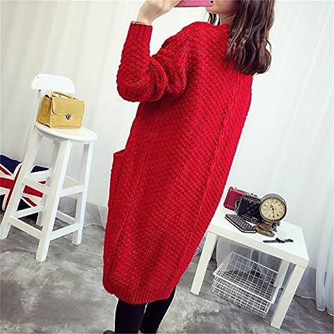 ZXR/spessore maglione/versione coreana di maglione/cardigan, rosso