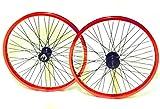 Robuste Vordere und hintere Felge für BMX Bikes, 20 Zoll (50,8cm), mit 9T-Nabe, 48Speichen, ANNODISED BRIGHT RED