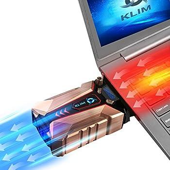 KLIM Cool + Refroidisseur PC portable en métal - Le plus puissant - Extracteur d'air USB pour refroidissement immédiat