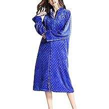 Mujer Albornoz con Bolsillo y Cremallera Manga Larga Bata Pijama Ropa Super Suave Robe