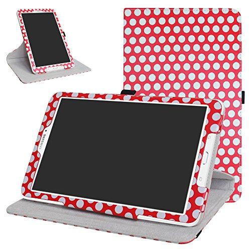 Mama Mouth 360Grad Rotary mit Ständer Cute Lovely Muster Schutzhülle für Samsung Galaxy Tab E 9,6/E Nook 24,4cm T560T561T567Verizon 4G LTE Polkadot Red