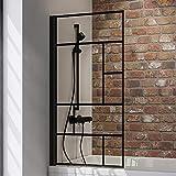 Schulte Duschwand Black Style, 80 x 140 cm, 5 mm Sicherheits-Glas Dekor Atelier 3, schwarz-matt, Duschabtrennung für Badewanne