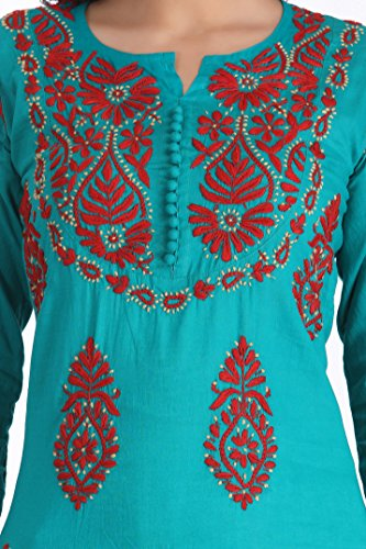 ADA Women's Cotton Lucknow Chikan Hand Embroidered Straight Kurta (3XL226000_Green_XXX-Large)