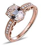 AMDXD 18 Karat Gold Damen Ringe Oval Solitärring Diamantring Rose mit Hell Braun Diamant Rosa Beryll Gr.60 (19.1)