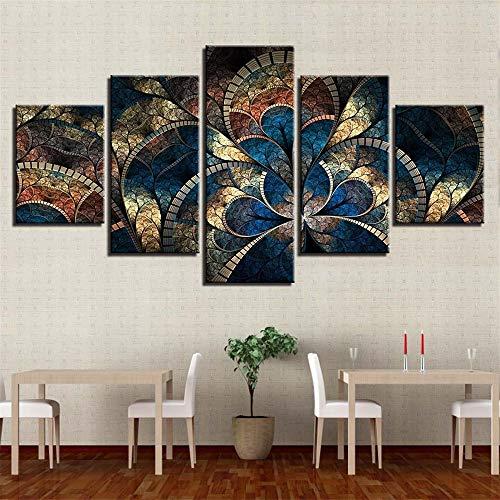 �Raum fünf Kampf abstrakte Blumen Blumen hängen Malerei Tusche Malerei Home Wandbild modernen Stil 19 Malerkern 30x40cmx2 30x60cmx2 30x80cmx1 ()