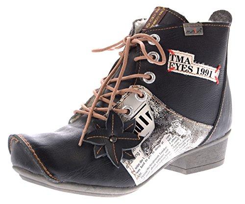 TMA Leder Damen Stiefeletten gefüttert Comfort Boots echt Leder Winter Schuhe TMA 8077 Gr. 36 - 42 Schwarz
