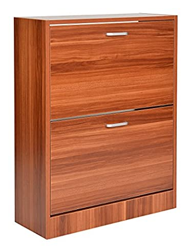 ts-ideen Shoe rack space saver 81x63 cm in Brown colour with 2 spacious tilting drawers