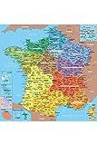 Puzzle 100 pièces - Puzzle en Bois - Carte de France avec Nouvelles Régions, 1 département = 1 pièce de puzzle...