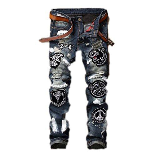 Männer Abzeichen Patchwork Jeans zerrissen Biker Patch Loch Denim Jeans für Männer Stickerei gerade Slim Jeans Hosen Night Club Hose