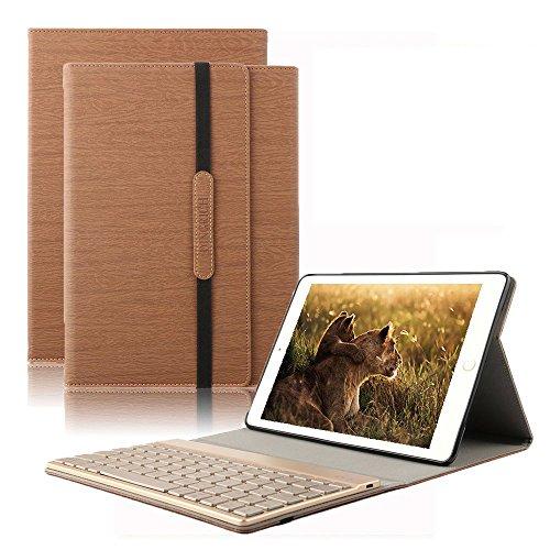 Ipad 2 Tastatur Case-abnehmbare (Dingrich Ipad 2 3 4 Tastatur Hülle, PU Hülle mit 7 Farben hinterleuchtet abnehmbare Wireless Bluetooth Tastatur und Automatische Schlaf/ Aufwecken Funktion, für Ipad 2 3 4 (Braun))