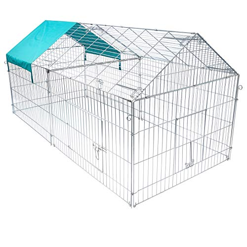 Elightry recinto pollaio per piccoli animali galine gabbia con rete da giardino/esterno in ferro 220x103x103cm xtsl0010