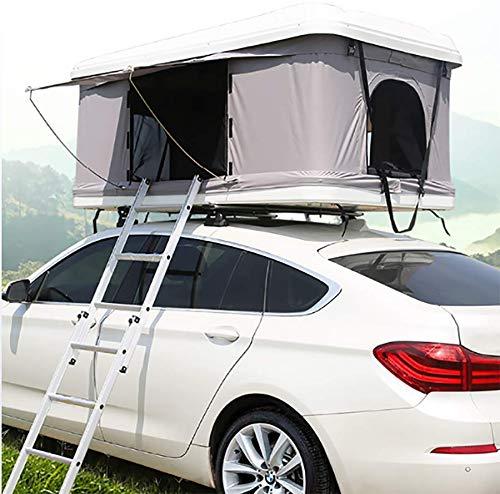 2-3 Erwachsene Autodachzelt Automobildachzelt Markisen Campingausrüstung, Weiße Schale + Graues Zelt