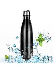 500ml Botella de Agua de Acero Inoxidable para Mantener sus Bebidas Calientes y Frías, OMorc Deportiva Botella Térmica libre de BPA, a Hacer Deporte, al Campo, al Trabajo, a la Playa, Viene con un Cepillo de Limpieza-Negro