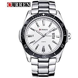 CURREN Men's Fashion Sports Quartz Analog White Stainless Steel Strap Wrist Watches 8110G