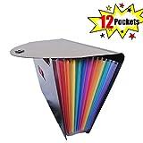 Fächermappe von Caveen, mit 24 Fächern, viel Platz, mehrfarbig, ausziehbarer Folder aus Kunststoff im Format A4, Organizer für Unternehmen 12 Pockets