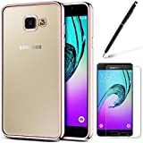 Coque Galaxy A5 (2016), HB-Int 3 en 1 Coque Samsung Galaxy A5 (2016) Transparent Crystal Clair Soft Gel Silicone TPU Coque Housse avec Placcatura Cover Téléphone Portable Étui Ultra Mince Slim Souple Bumper Protection Anti Scratch Shock Absorption Case + 1 X Film de L'écran + 1 X Stylet - Rose Gold