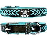 Vcalabashor Hundehalsband aus Leder,Geflochtene Hundehalsbänder aus Leder mit Diamante-Totenkopf Besetzt,Weich Gepolstertes Hundehalsband,Blau & Schwarz Klein