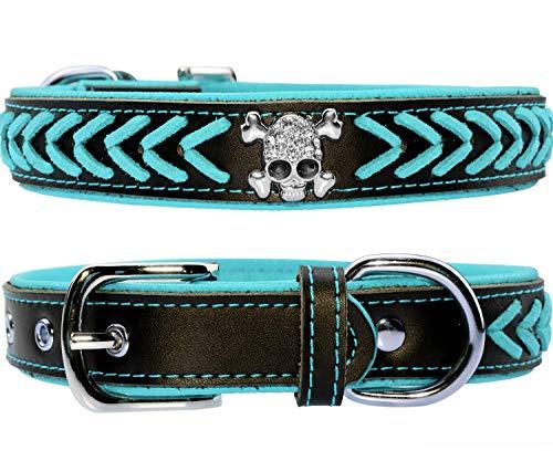 Vcalabashor Hundehalsband aus Leder,Geflochtene Hundehalsbänder aus Leder mit Diamante-Totenkopf Besetzt,Weich Gepolstertes Hundehalsband,Blau & Schwarz Extra Groß