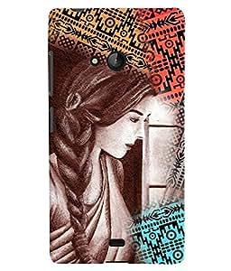 PrintVisa Stylish Cool Girl Colorful 3D Hard Polycarbonate Designer Back Case Cover for Nokia Lumia 540