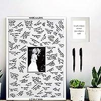 Cuadro de firmas para boda. Varios tamaños y colores de marco. Rotuladores e instrucciones