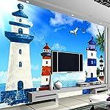 HONGYAUNZHANG Blau Leuchtturm Gebäude Benutzerdefinierte Fototapete 3D Stereoskopische Wandbild Wohnzimmer Schlafzimmer Sofa Hintergrund Wandmalereien,110Cm (H) X 190Cm (W)