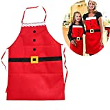 BENHAI 1PC Christmas Design Red Color Christmas Fabrics Unique Decal Christmas Articles Non-Woven Apron Hot Sale Christmas Decorations Apron