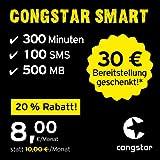 congstar Smart Tarif [SIM, Micro-SIM und Nano-SIM] monatlich kündbar (8,00 Euro/Monat, 500 MB Datenflat mit max. 21 Mbit/s, monatlich 300 Minuten und 100 SMS) in bester D-Netz-Qualität preiswert