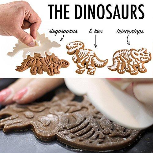 SELECTO Backen–Dinosaurier Fossil Cookie Cutter Stempel Set von 3 (Die Graben Knochen)